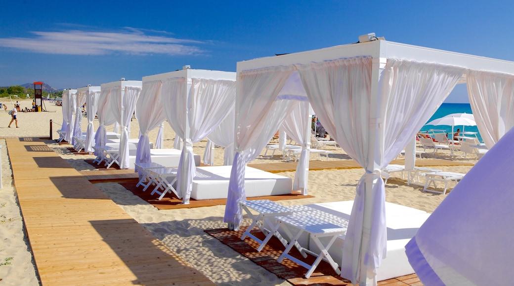 Cala Sinzias showing a sandy beach