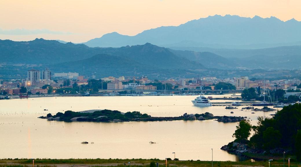 Port d\'Olbia mettant en vedette ville côtière et ville