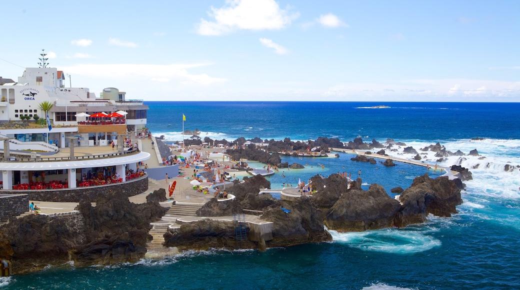 Porto Moniz Natural Pools which includes rocky coastline