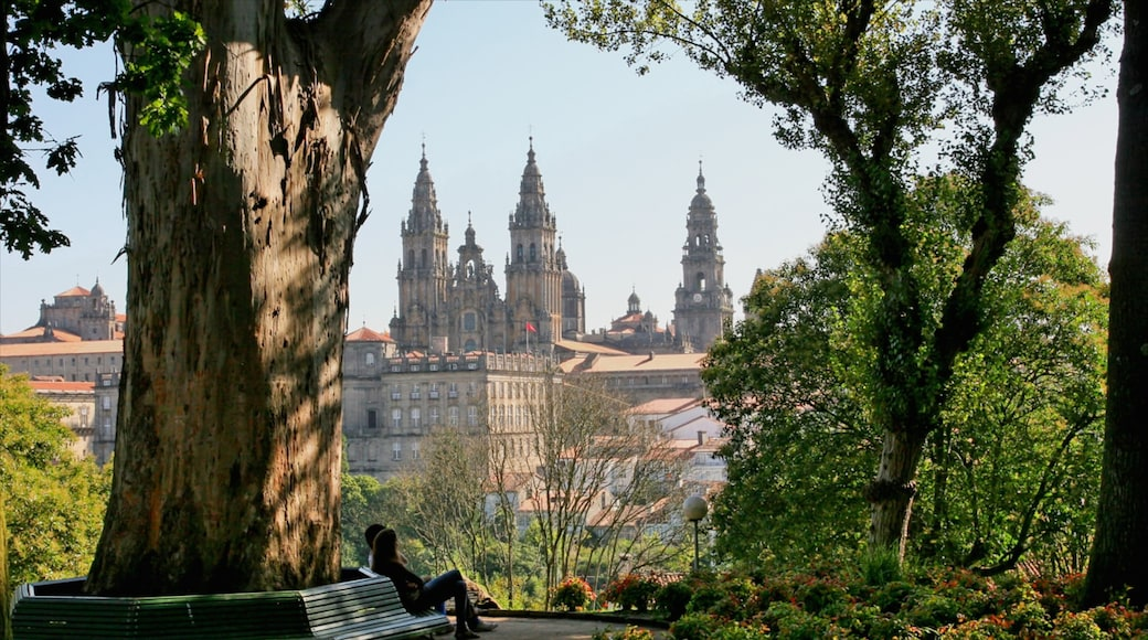 Santiago de Compostela featuring a church or cathedral, heritage architecture and a garden
