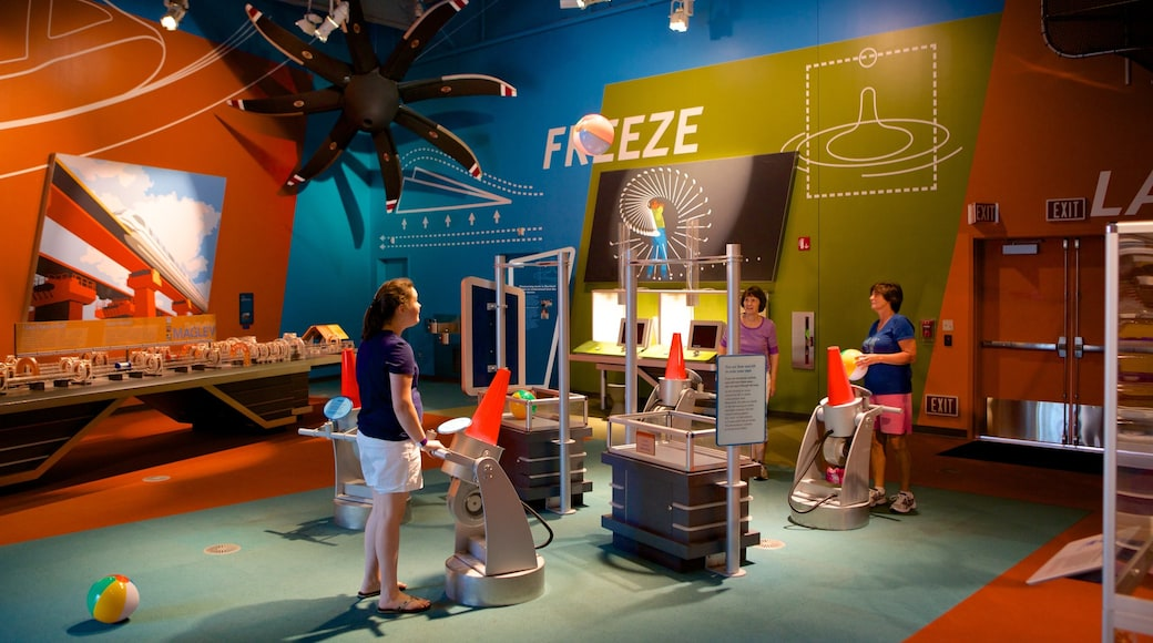 Connecticut Science Center showing interior views as well as a small group of people