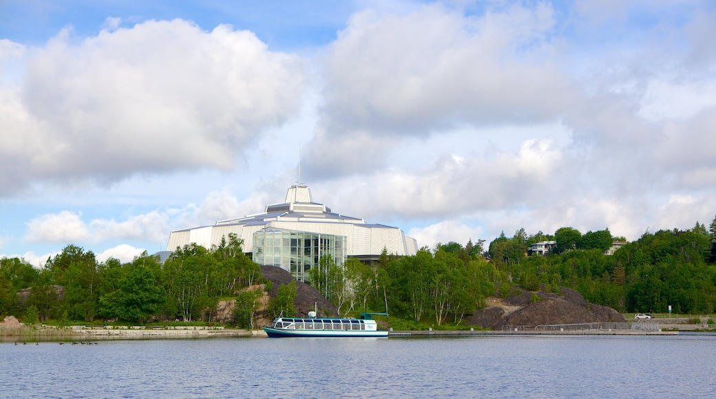 Science North featuring general coastal views and boating