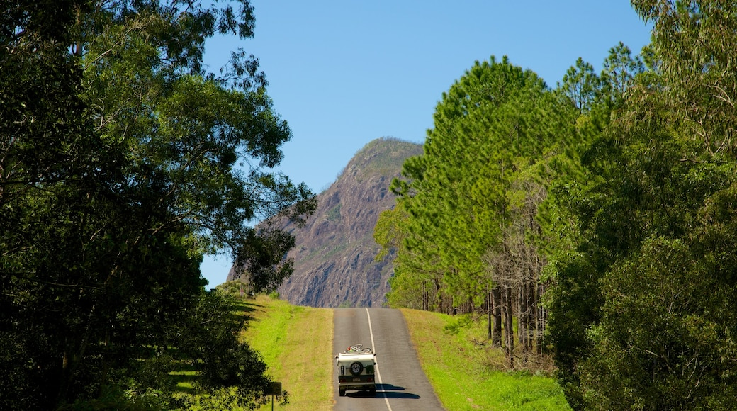 Glasshouse Mountains National Park showing tranquil scenes and touring