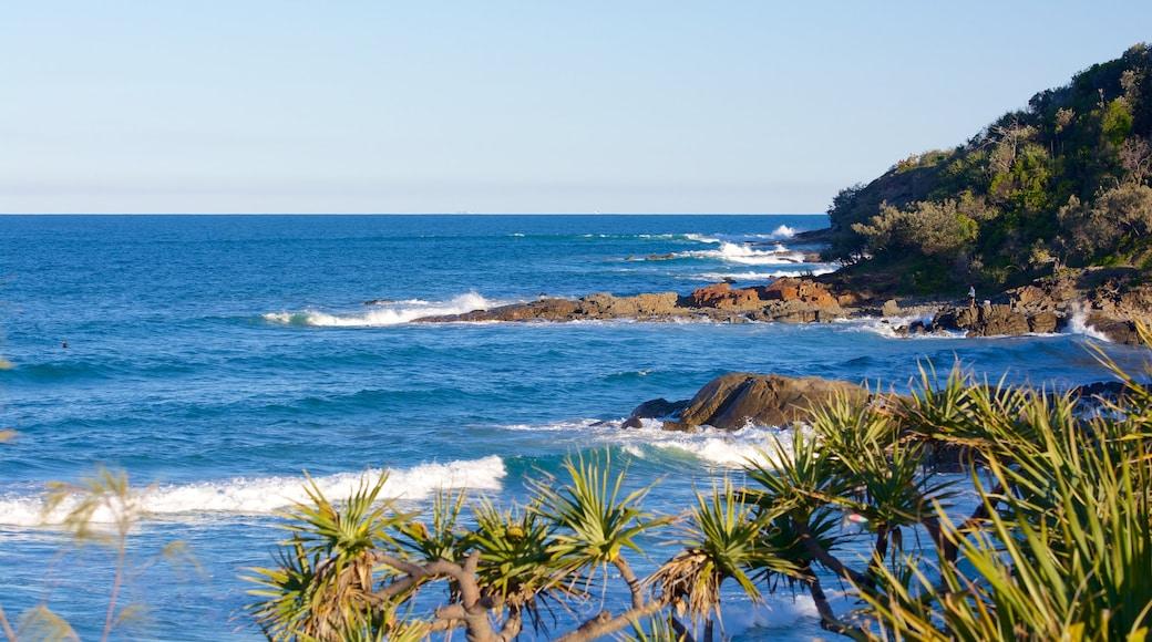 Coolum Beach which includes rugged coastline