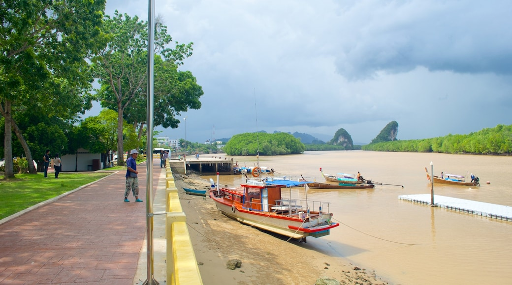 Krabi Town showing a river or creek, boating and street scenes