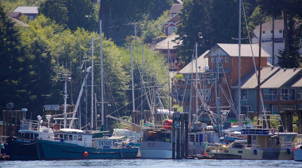 Tofino showing boating, a coastal town and a bay or harbour