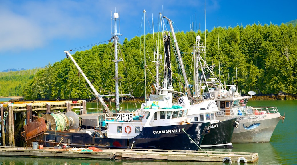 Ucluelet which includes a bay or harbour, boating and general coastal views