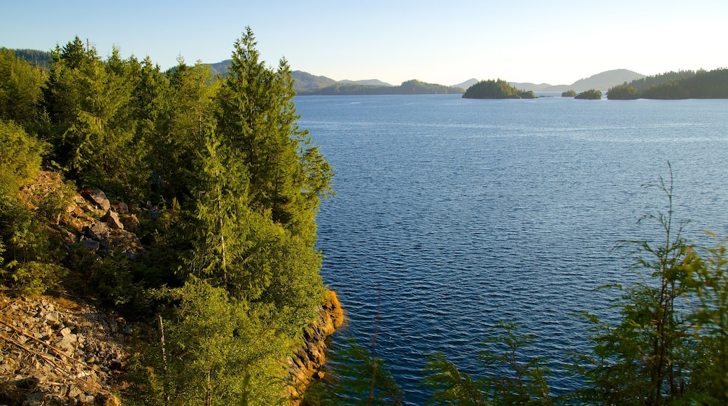 Clayquot Arm Provincial Park which includes a lake or waterhole, landscape views and forest scenes