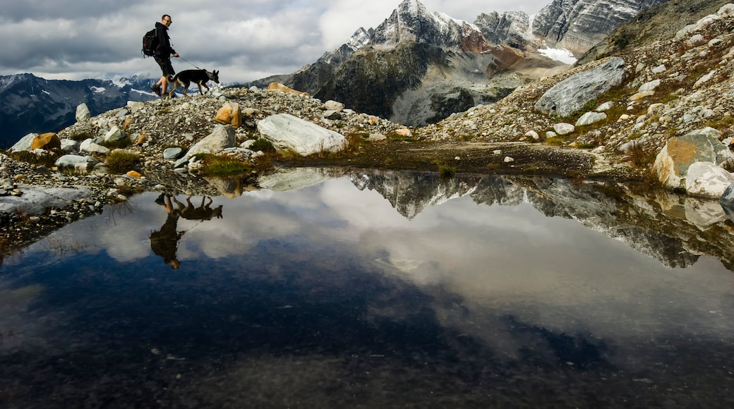 Revelstoke showing a pond, hiking or walking and mountains