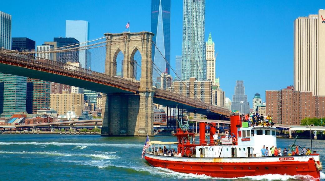 Brooklyn som viser by, bro og elv eller bekk