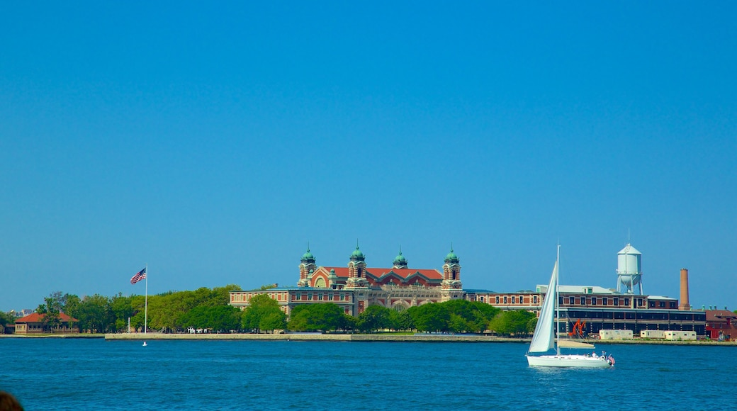 Ellis Island which includes general coastal views and boating