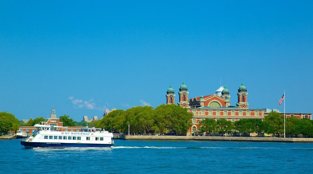 Ellis Island featuring general coastal views and a ferry