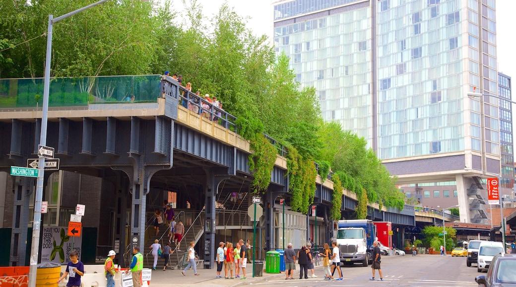 The High Line Park mostrando una ciudad, un parque y imágenes de calles
