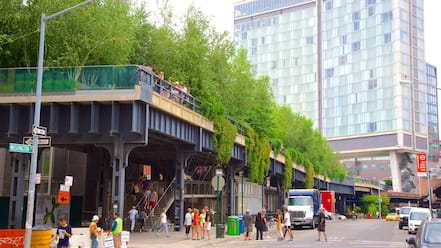 The High Line Park featuring a city, a garden and street scenes