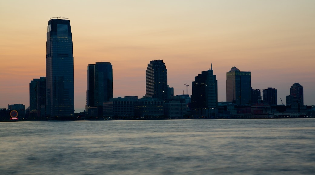 World Financial Center featuring a sunset, a city and skyline