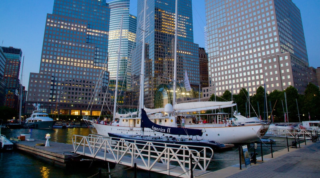 World Financial Center featuring a city and a marina