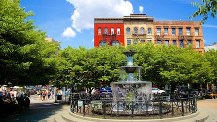 Greenwich Village showing a fountain