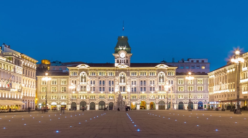 Trieste featuring night scenes and a castle