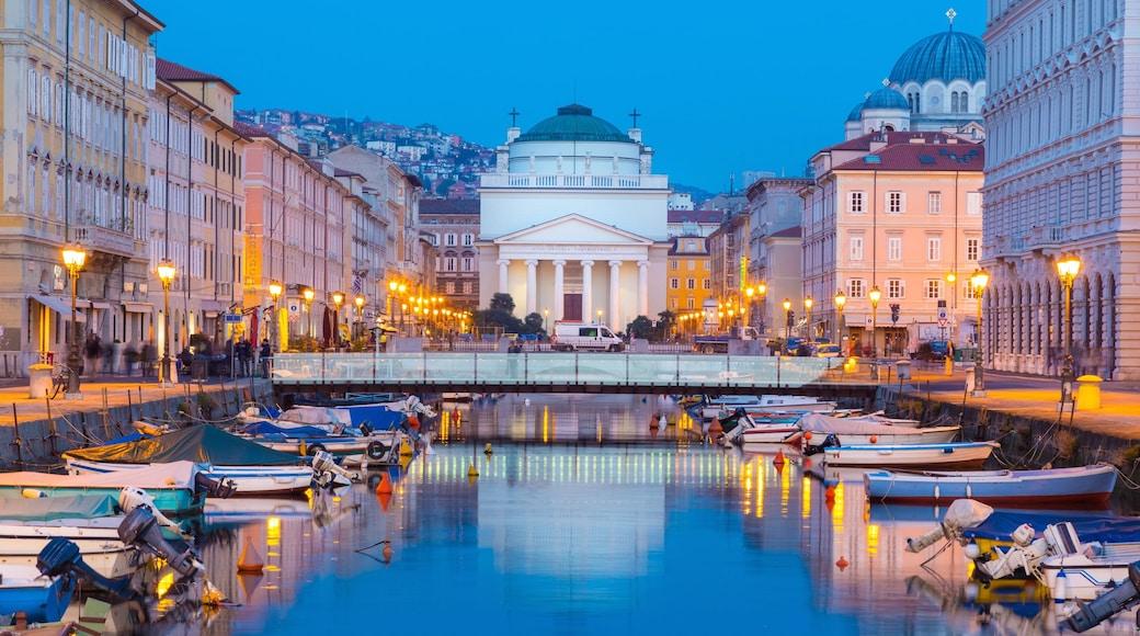 Trieste which includes night scenes