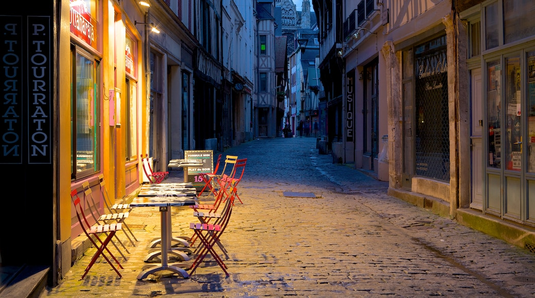Rouen featuring night scenes, a small town or village and café lifestyle