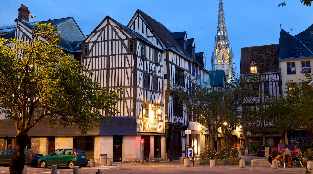 Rouen featuring night scenes, a house and heritage architecture