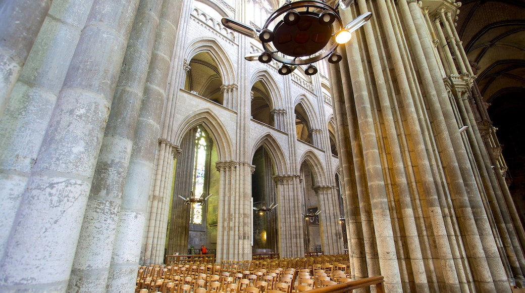 Rouen Cathedral featuring interior views and a church or cathedral