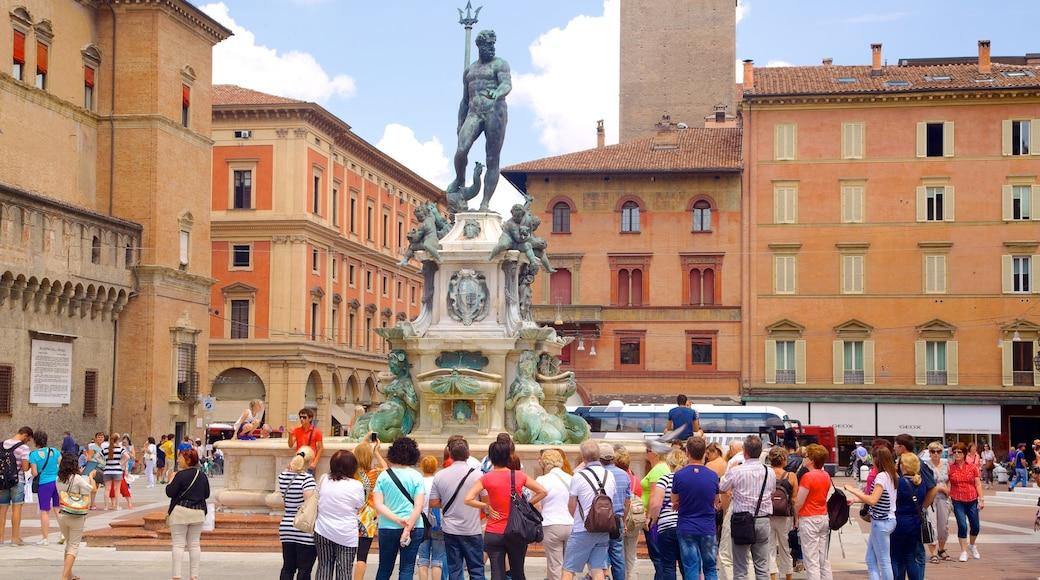 Neptunbrunnen das einen Springbrunnen, Statue oder Skulptur und historische Architektur
