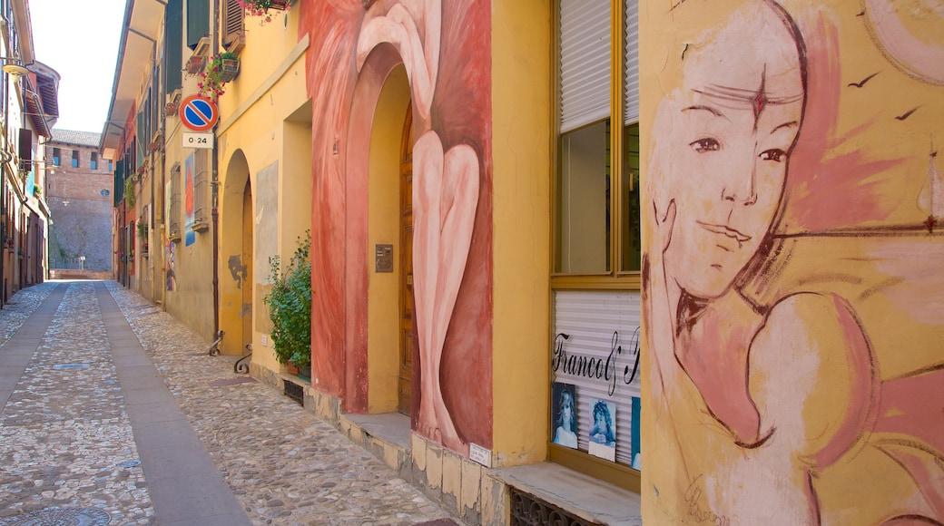 Dozza welches beinhaltet Kleinstadt oder Dorf und Outdoor-Kunst