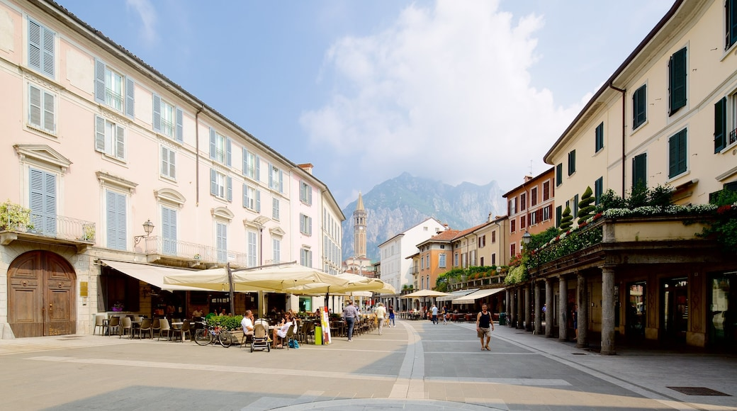 Lecco showing heritage architecture, a small town or village and outdoor eating