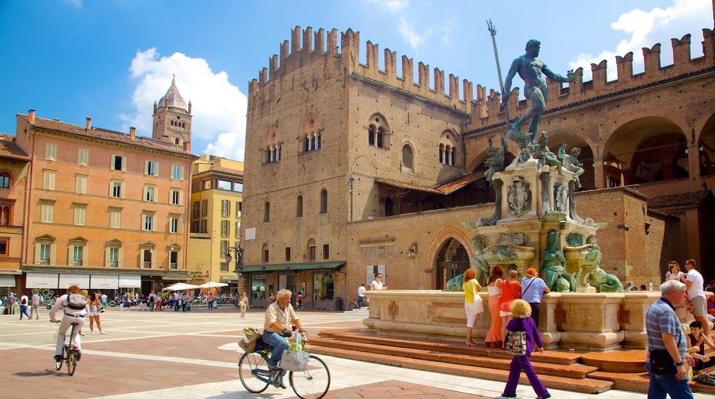 Neptunbrunnen mit einem Platz oder Plaza, Fahrradfahren und Springbrunnen