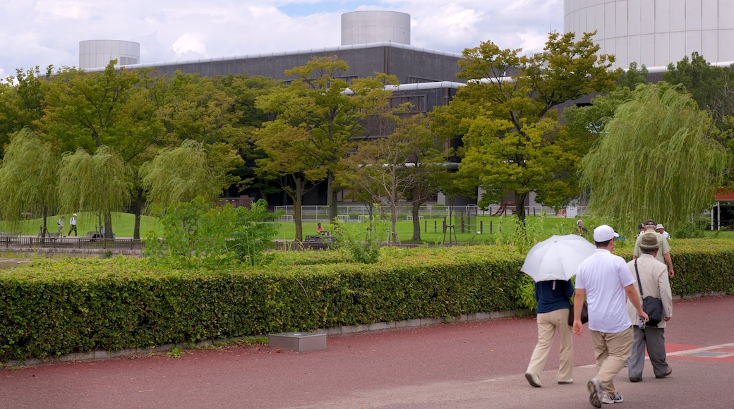 Japan showing a park as well as a small group of people