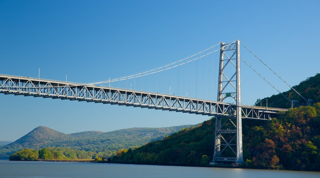 Bear Mountain State Park which includes tranquil scenes, a river or creek and a bridge