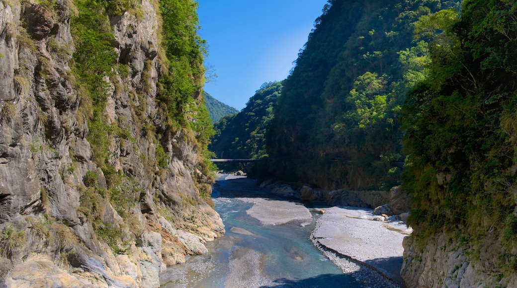 Taroko National Park which includes tranquil scenes and a river or creek