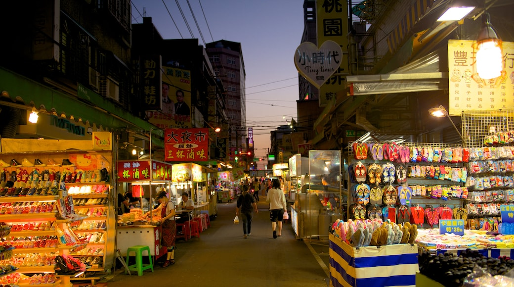 Taoyuan County featuring a city, night scenes and markets