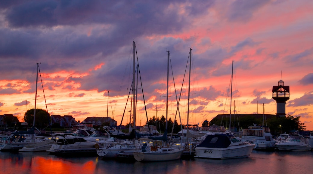 Erie featuring sailing, a sunset and a bay or harbor