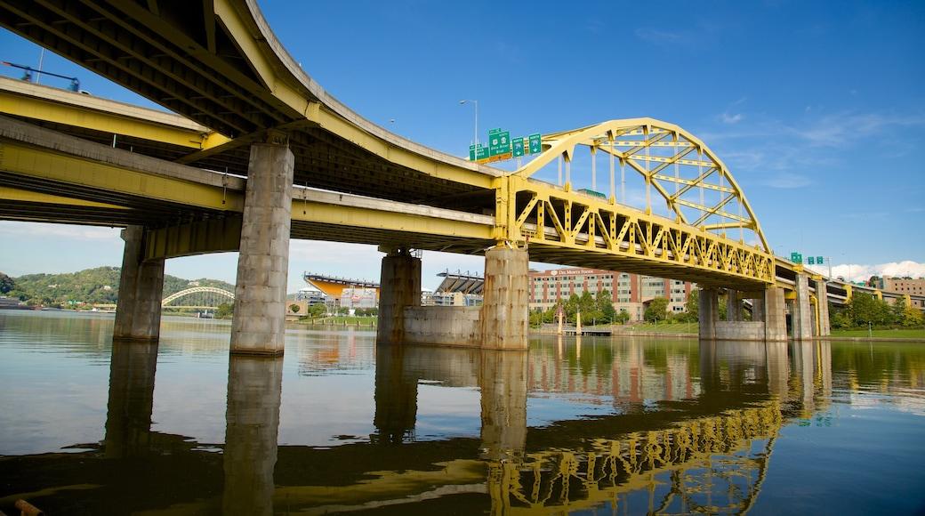 PNC Park showing a bridge and a river or creek