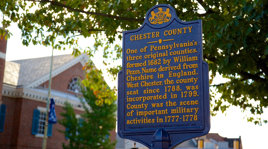 West Chester featuring heritage elements and signage