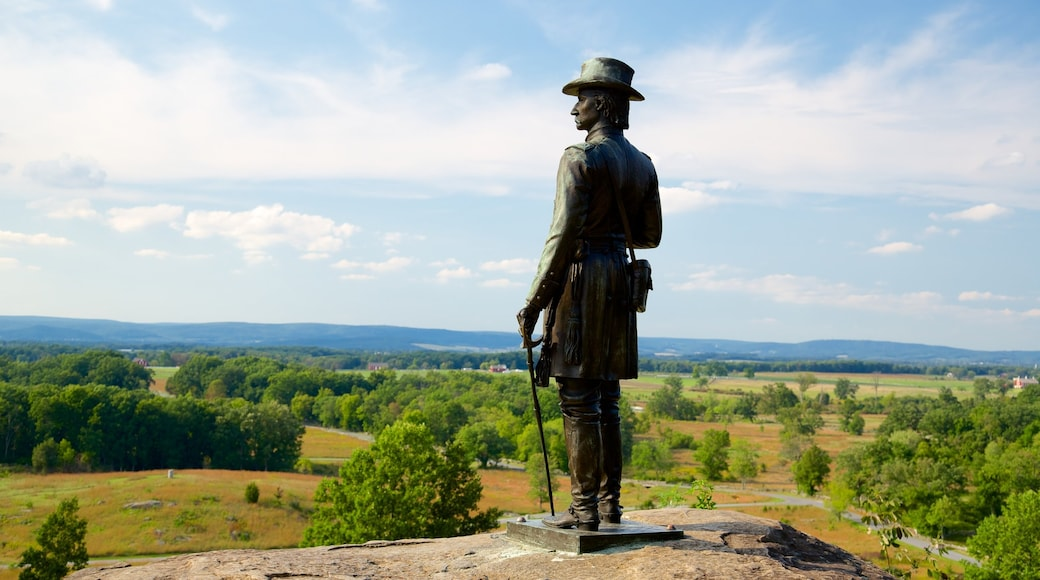 Gettysburg National Military Park featuring military items, landscape views and heritage elements