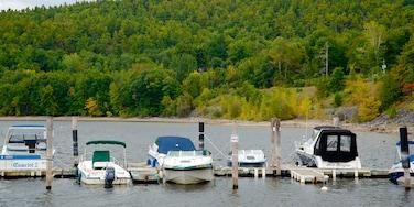 Lake Champlain Ferry showing a marina