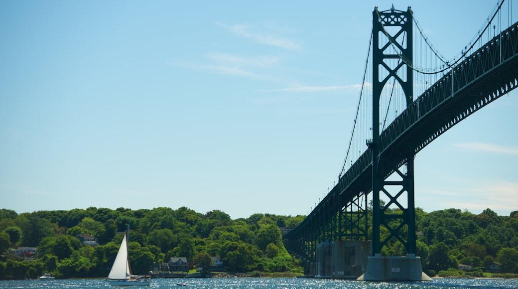 Newport Bridge featuring sailing, general coastal views and a bridge
