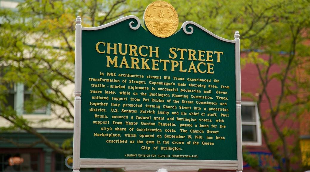 Church Street Marketplace caracterizando sinalização