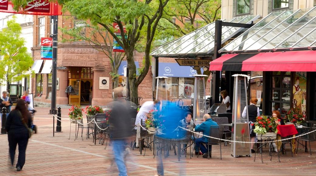 Church Street Marketplace mostrando cenas de rua, mercados e jantar ao ar livre