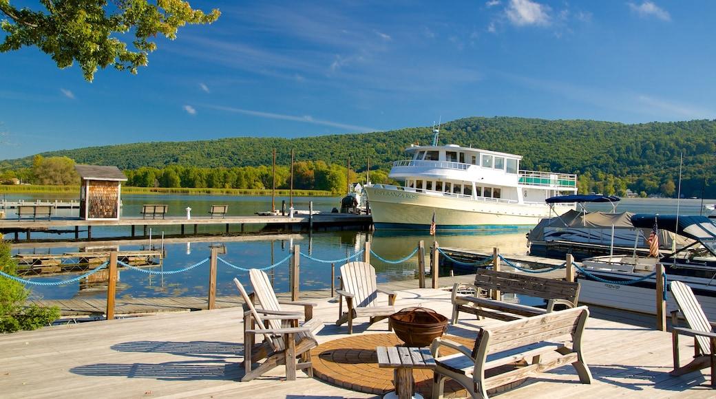Keuka Lake State Park featuring boating, general coastal views and a bridge