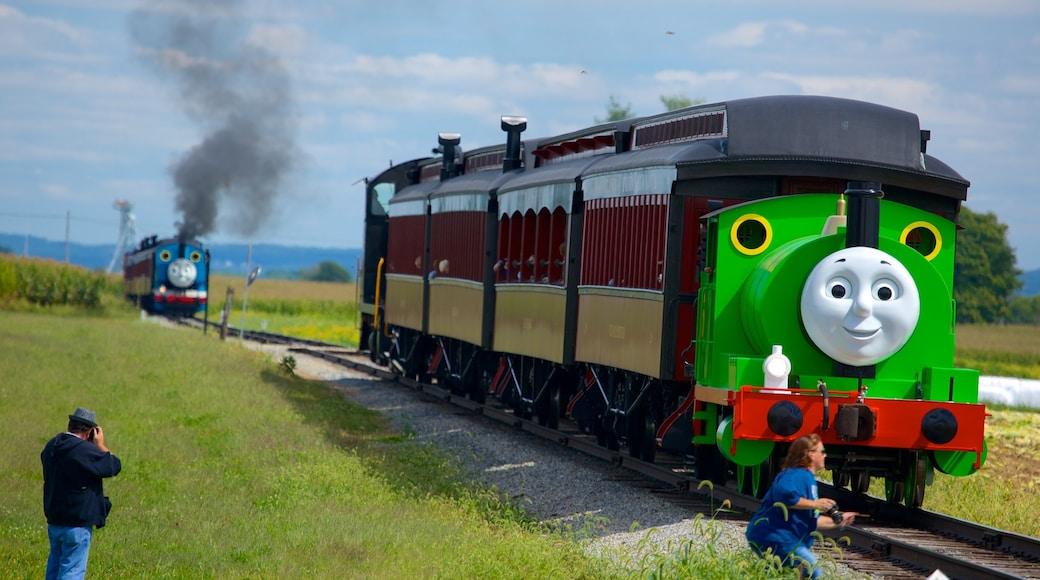 National Toy Train Museum caracterizando itens de ferrovia assim como uma mulher sozinha