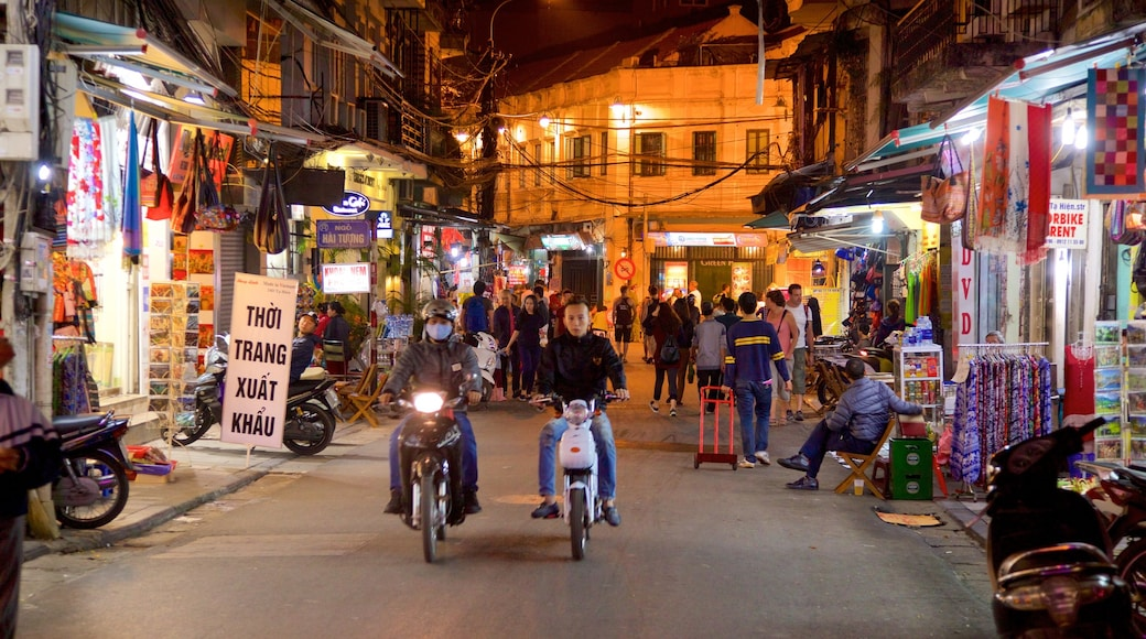 Hanoi showing shopping, street scenes and night scenes