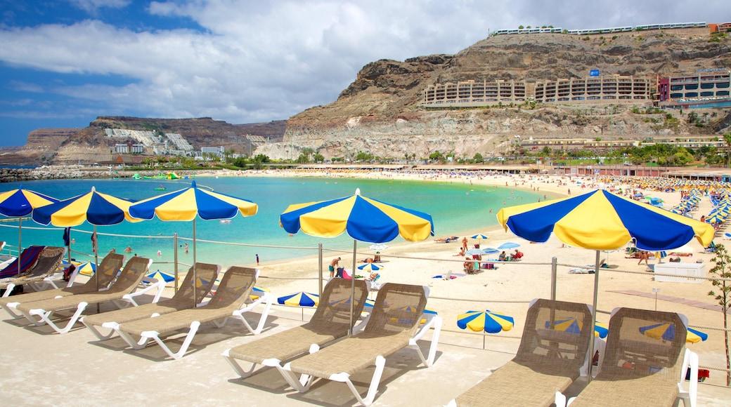 Amadores Beach which includes general coastal views, a sandy beach and a coastal town