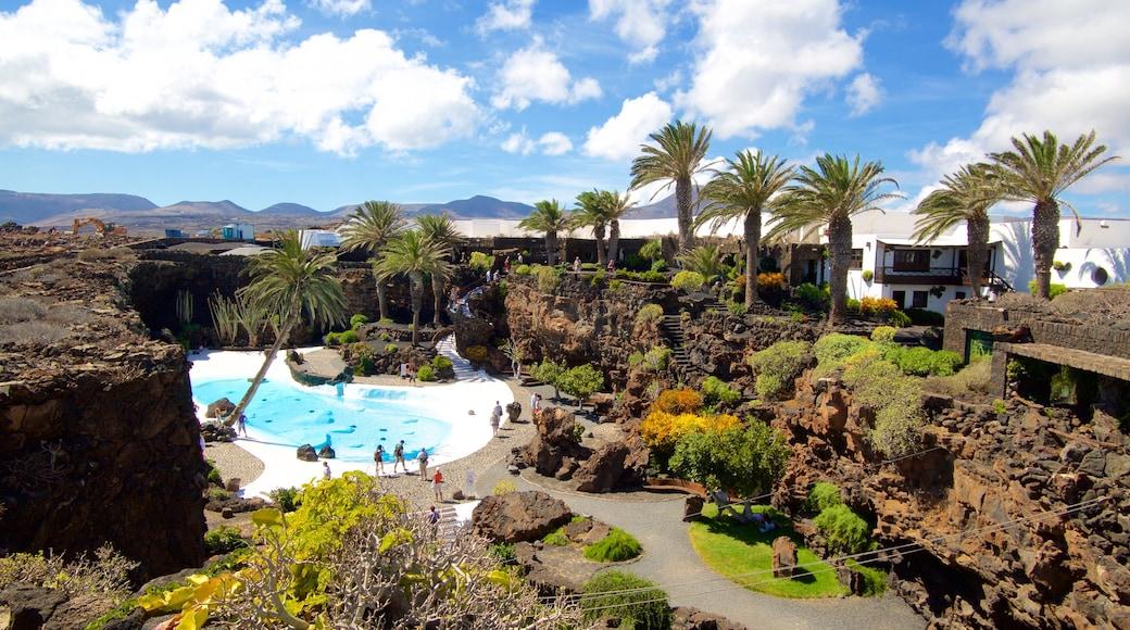 Jameos del Agua das einen Luxushotel oder Resort, tropische Szenerien und Pool
