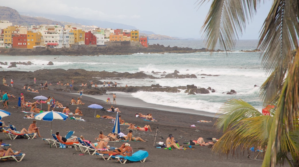 Garden Beach featuring a coastal town and general coastal views as well as a large group of people