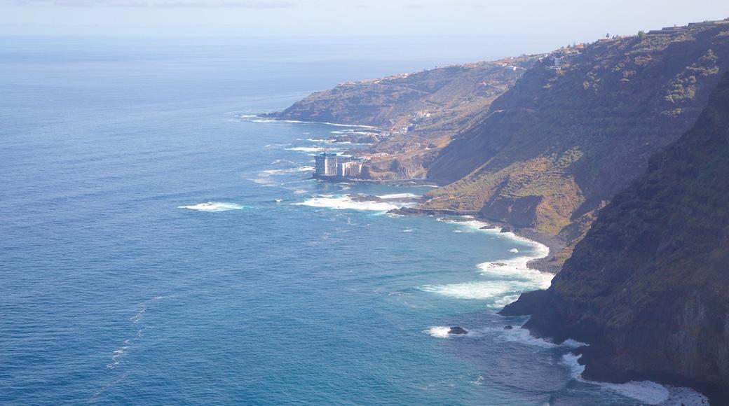 Sauzal mostrando litoral accidentado, montañas y vistas de una costa