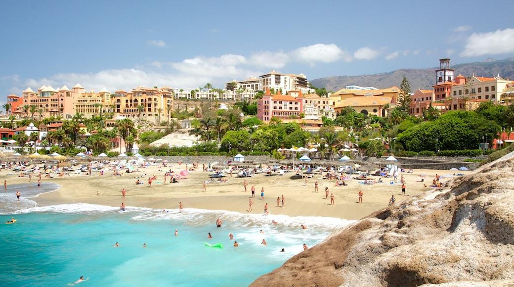 Playa del Duque, Adeje, Spanien som viser udsigt over kystområde, en kystby og svømning